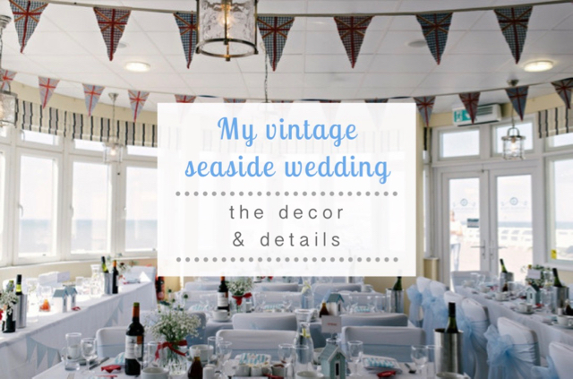 Vintage seaside wedding decor and details - treasure chest ring box, bucket & spade confetti, beach hut table name cards, origami crab namecards, fudge favours, postcard guestbook, seaside wedding cake, retro arcade machines, homemade vintage selfie booth & vintage wedding playlist