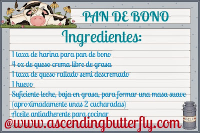 Ingredientes Receta de Pan de Bono, Columbian Cheese Bread Recipe Ingredients List Spanish