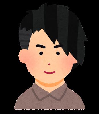 アシンメトリーの髪型の男性のイラスト