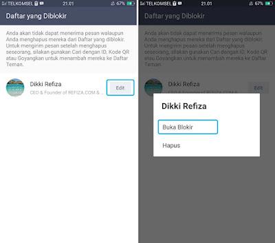 Unblock Teman di LINE Android