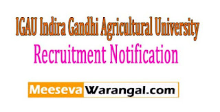 IGAU Indira Gandhi Agricultural University Recruitment Notification 2017