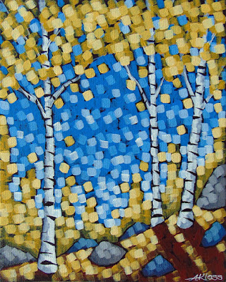 Golden Birch Rays painting by artist aaron kloss, gold birch, painting of fall birch, duluth mn painter, duluth art, duluth art scene, pointillism