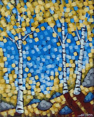 Golden Birch Rays painting by artist aaron kloss, gold birch, painting of fall birch, duluth mn painter, duluth art, duluth art scene, pointillism