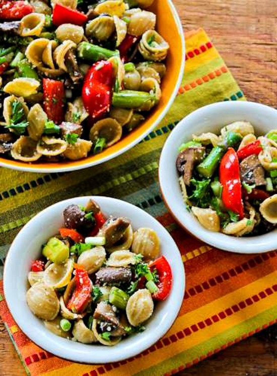 Whole Wheat Orcchiette Pasta Salad with Roasted Asparagus, Red Bell Pepper, and Mushrooms found on KalynsKitchen.com