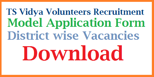 Telangana School Education Dept Recruitment of Vidya Volunteers Download Model Application Form | Download Vacancy Lists of Khammam, Ranga Reddy, Warangal Adilabad Bupala Pally, Warangal Urban & Rural | Model Online Application form Download ts-vidya-volunteers-dist-wise-vacancies-model-application-form-download