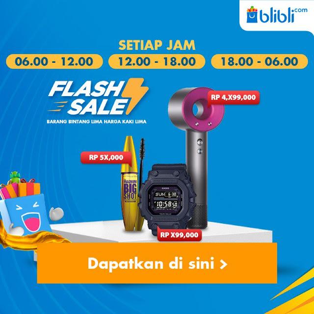 #BliBli - #Promo Flash Sale 3X Sehari Barang Bintang Lima Harga Kaki Lima