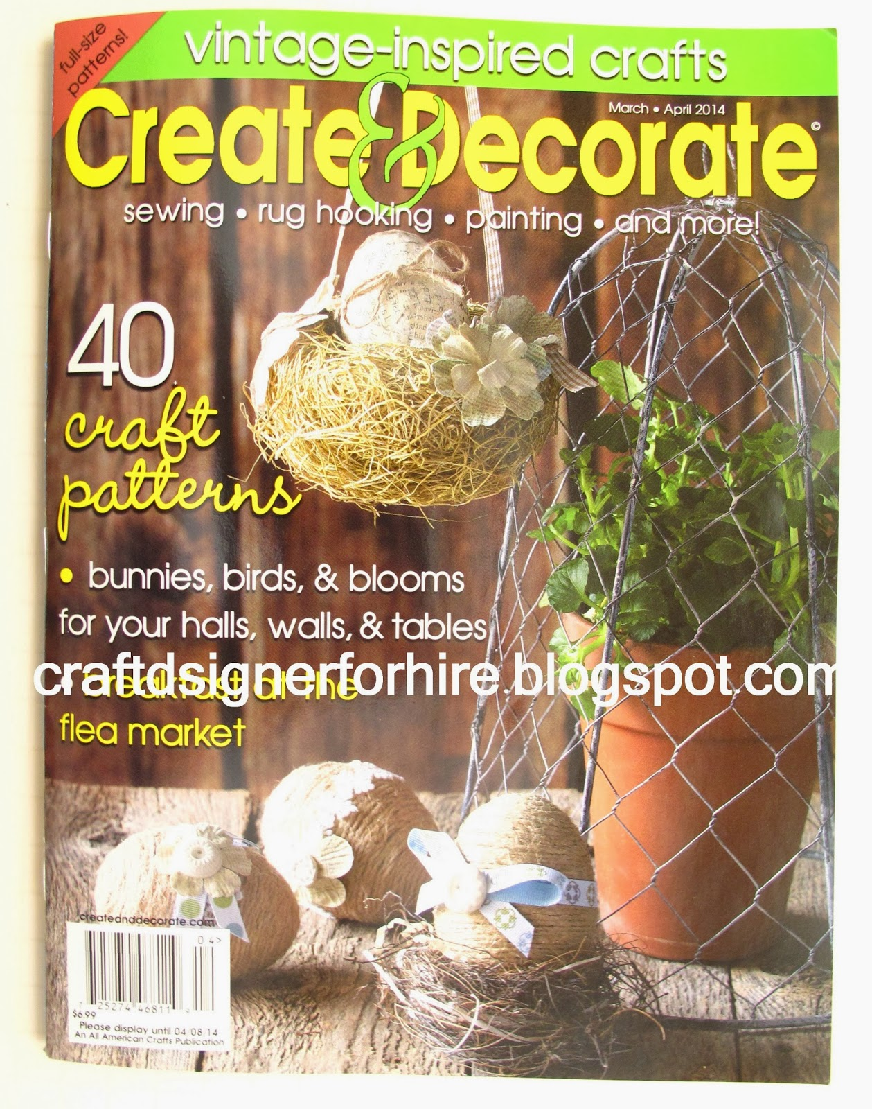 Felt Flower Wreath--cover of Create and Decorate March/April 2014