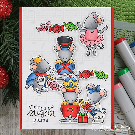 Nutcracker Mice Christmas card by Juliana Michaels | The Nutcracker Squeak Stamp Set and Music Stencil by Newton's Nook Designs   #newtonsnook #handmade