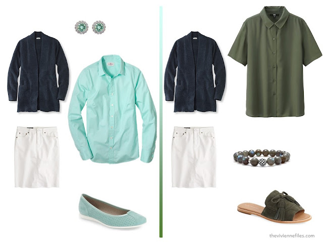 A basic navy cardigan and white skirt  with green