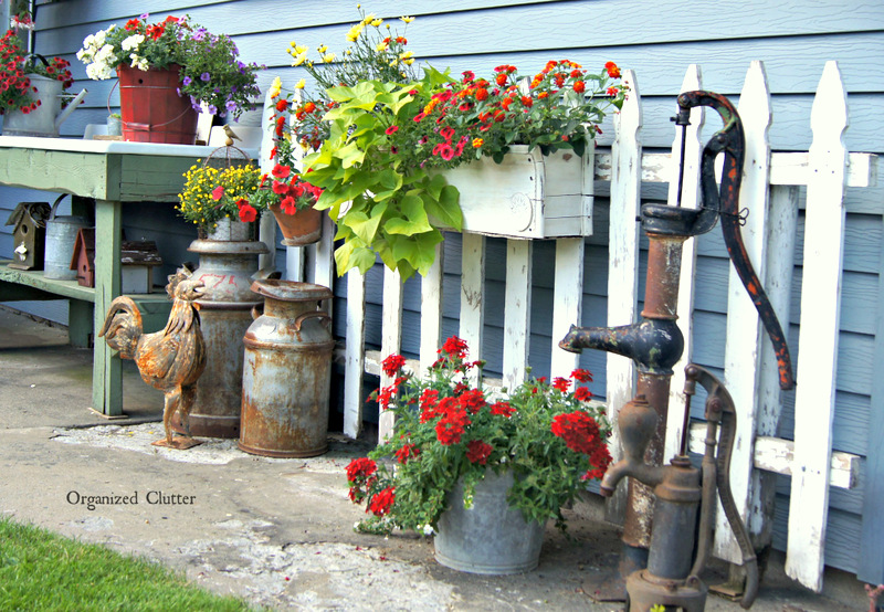 Potting Sink & Picket Fence www.organizedclutterqueen.blogspot.com