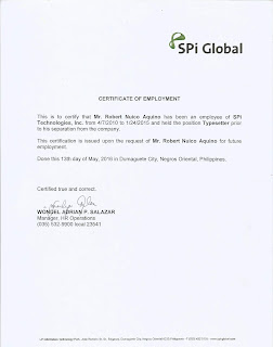 SPi Global BPO Company - Certificate of Employment