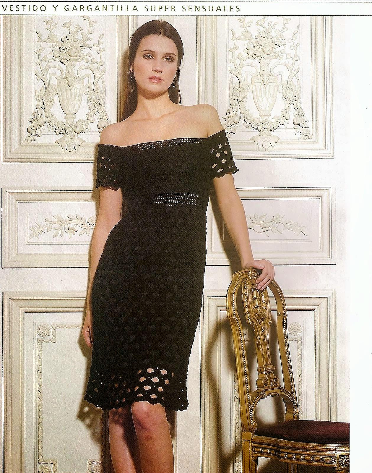 Vestido y Gargantilla Conjunto Tricot-Crochet Patron