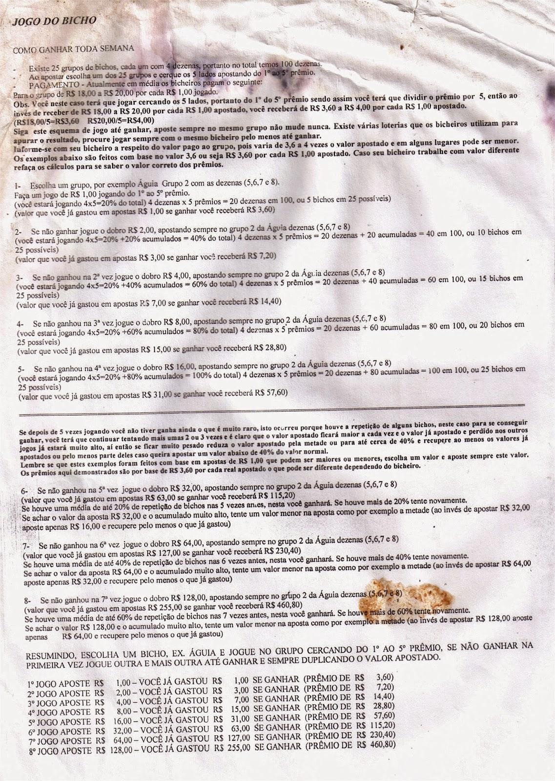 A história do jogo do bicho desde 1892, tabela dos bichos com as dezenas e um método infalível para ganhar apresentado no programa do Jô (Wikipedia) - Método de jogo para vencer, apresentado mo programa do Jô alguns anos atrás