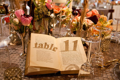 vintage book table number centrepiece display wedding