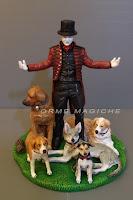 cake topper torta compleanno statuina mago amante dei cani orme magiche