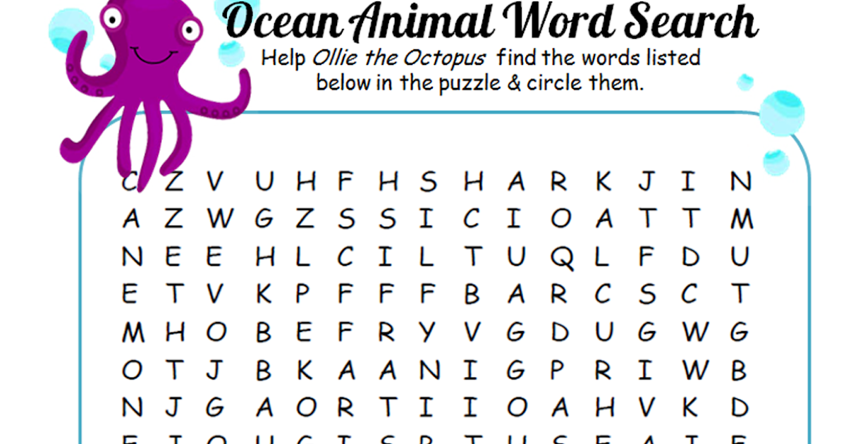 Aqua Fun Kids: Ocean Animals Word Search