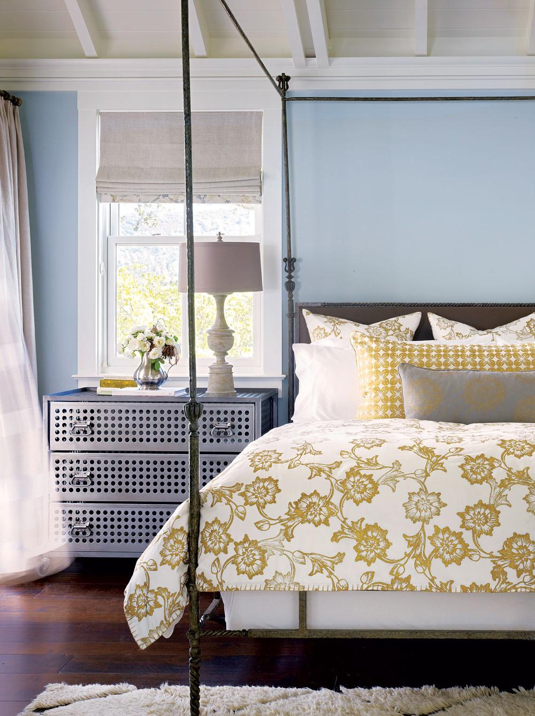 Bedroom in Napa Valley farmhouse by Ken Fulk in C Magazine