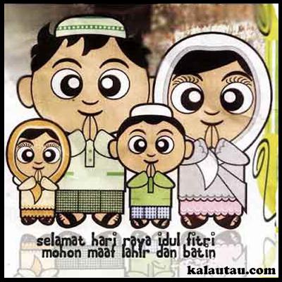 kalautau.com - Gambar Selamat Idul Fitri versi kartun keluarga