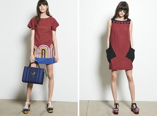 Девушка в коротком прямом платье в стиле шестидесятых годов