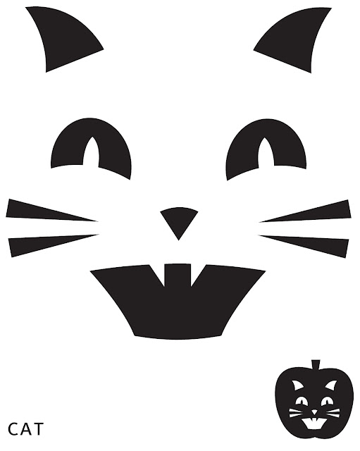 Cat face pumpkin carving pattern stencil template designs