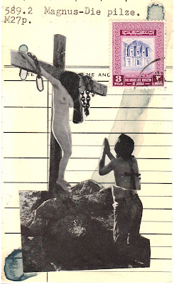 virgin mary Crucifixion vintage nude cross postage stamp Dada Fluxus library card mail art collage