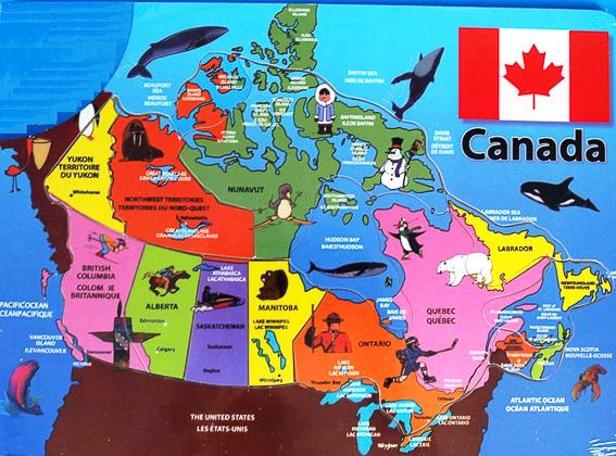 Mapa turistico de Canada.
