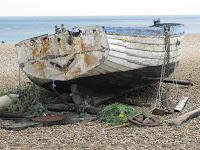 Old boat on the Aldeburgh shingle beach