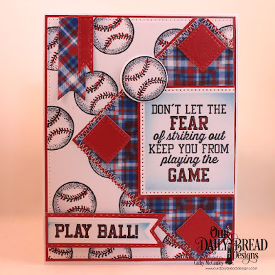Our Daily Bread Designs Stamp/Die Duos: Baseball, Paper Collection:  Old Glory, Custom Dies: Pierced Rectangles, Pierced Squares, Pennant Flags, Double Stitched Pennant Flags
