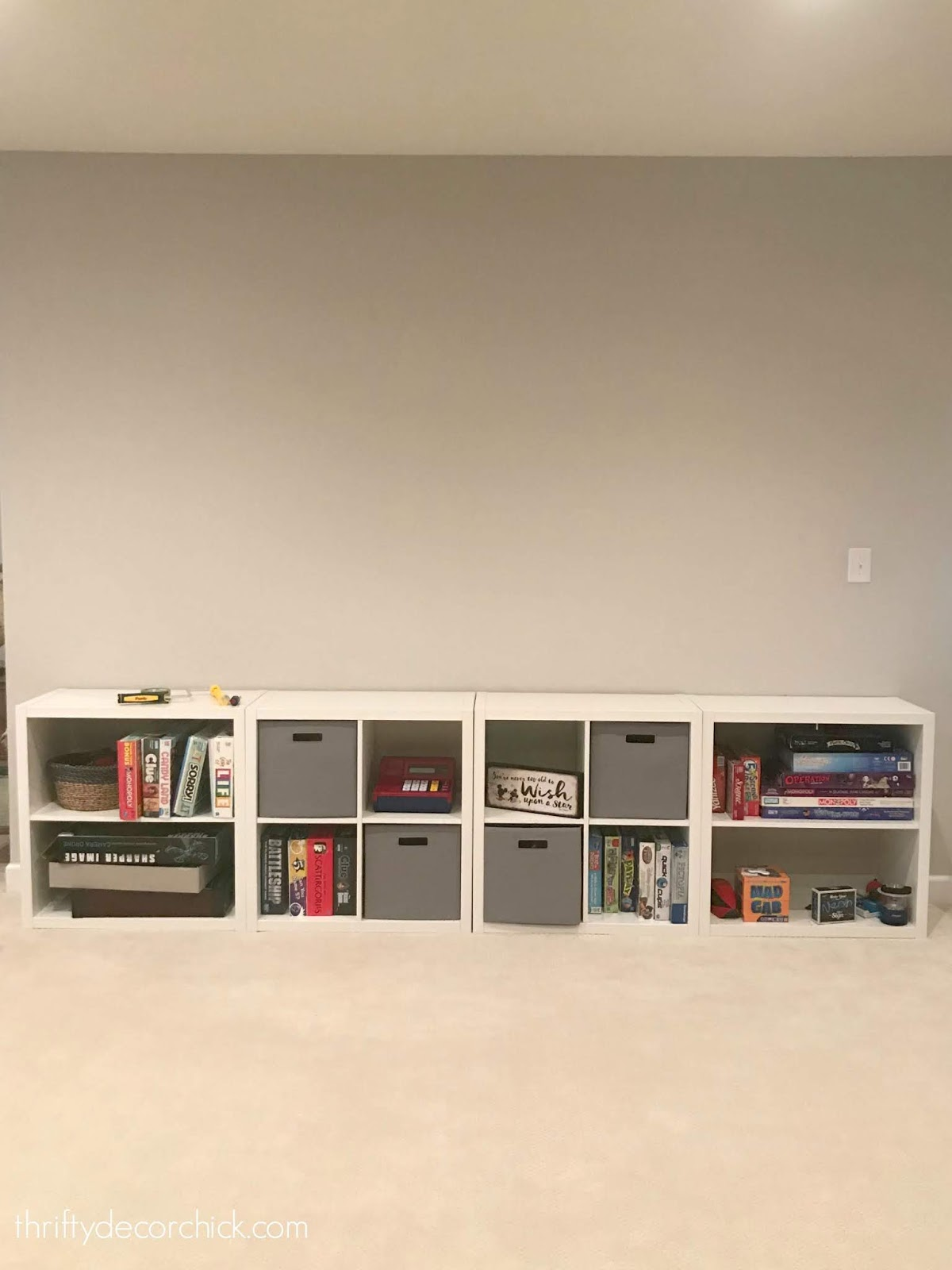 Square cubby storage for games and bins