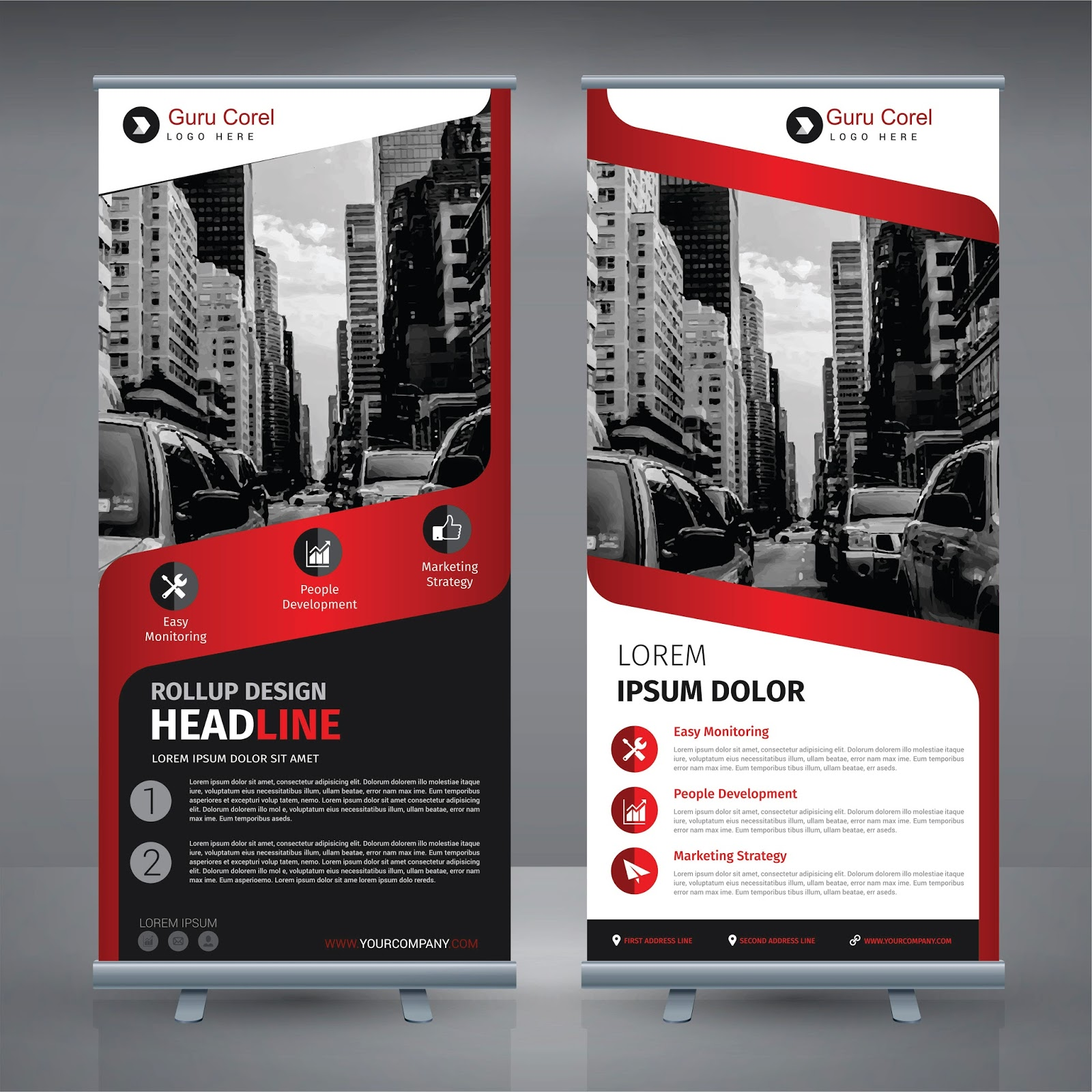 FREE TEMPLATE VECTOR ROLL STAND BANNER AWESOME Guru Corel