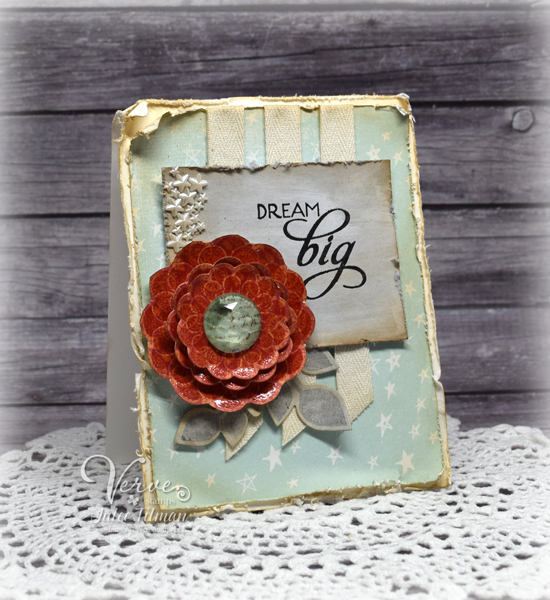 Shabby chic handmade card by Julee Tilman featuring Verve Stamps| www.poeticartistry.blogspot.com