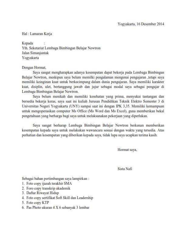 Contoh Surat Lamaran Kerja sebagai Guru Bimbel - ben jobs