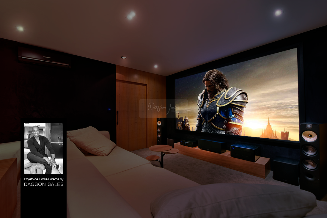 Dagson Sales assina projeto de sala de home cinema para showroom DAg Brasil Jd. Anália Franco