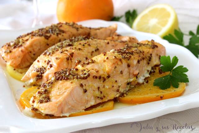 Salmón al horno con cítricos. Julia y sus recetas