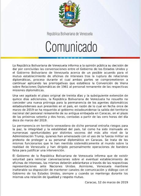 Régimen de Maduro da por terminadas conversaciones con EEUU y da plazo a diplomáticos para salir del país