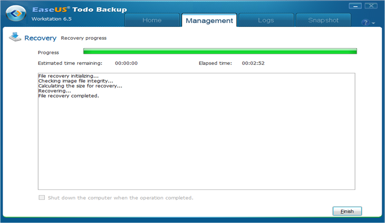 EaseUS Todo Backup Workstation data recovery speed