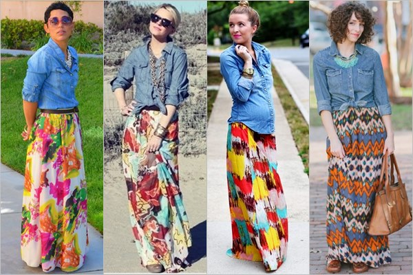 Image result for shirts to wear with maxi skirts