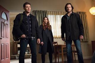 "Jensen Ackles as Dean Winchester, Danneel Ackles as Sister Jo, and Jared Padalecki as Sam Winchester in Supernatural 13x13 ""Devil's Bargain"""