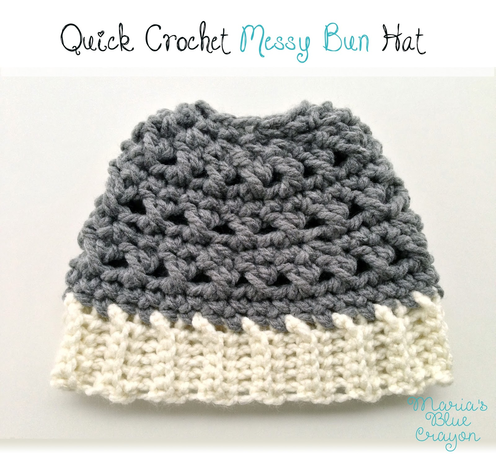 Quick Crochet Messy Bun Hat – Free Crochet Pattern 5ae3973f867