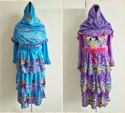 baju muslim gamis anak model frozen