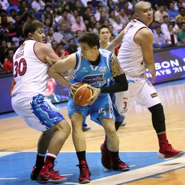 San Mig Coffee Mixer Marc Pingris began with offense and ended with defense, as his side took a 2-1 lead in the 2013-14 PBA Philippine Cup Finals.