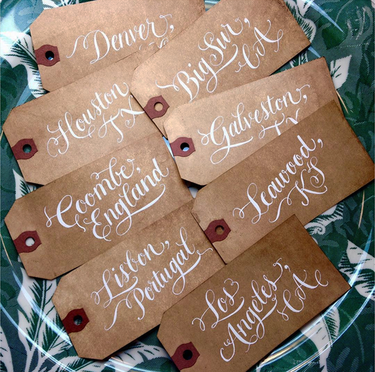 a to z calligraphy vintage table name tags