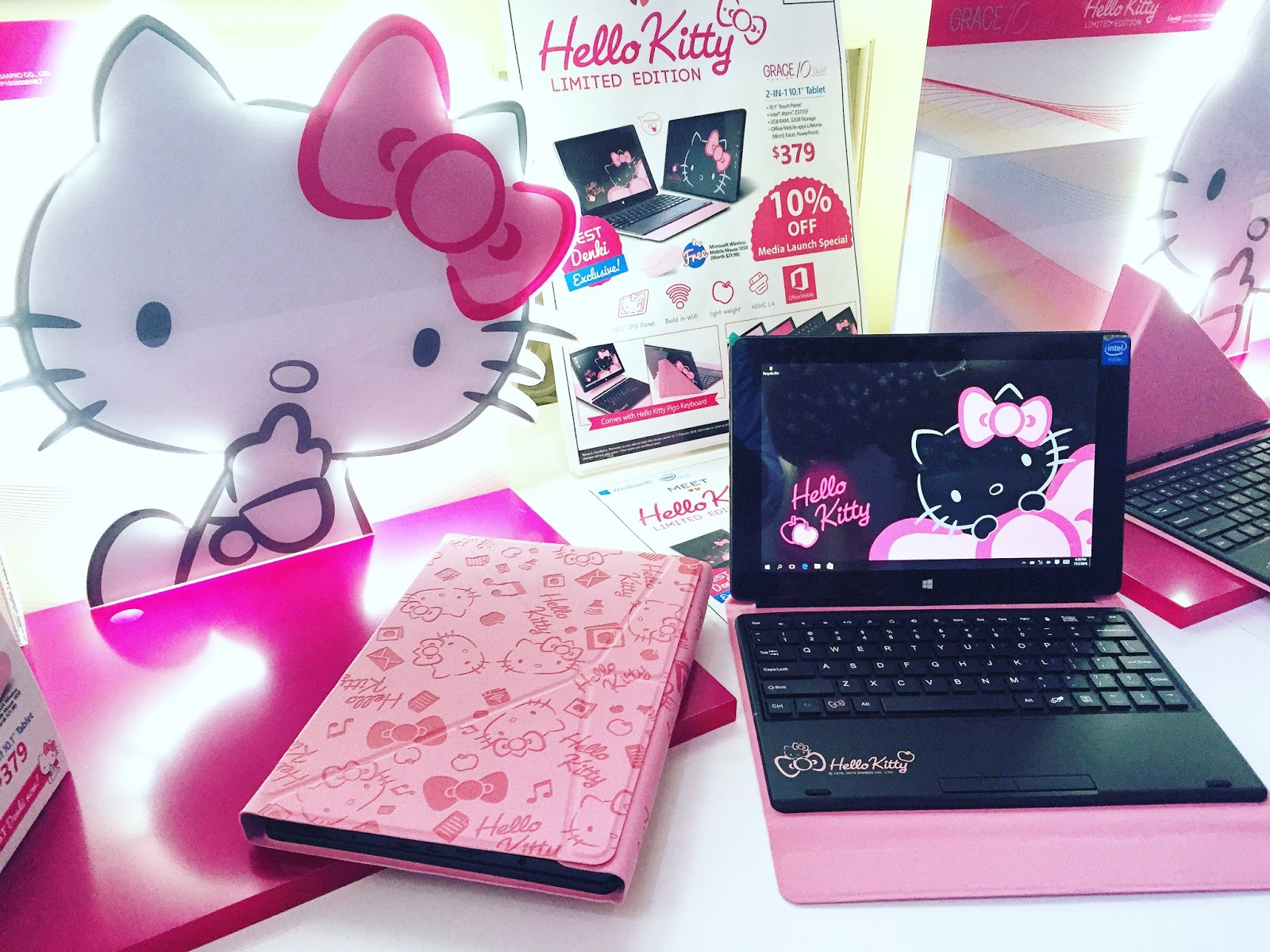 2f60356df To all Hello Kitty Fans, the Grace 10 Light Hello Kitty Limited Edition  Windows 10 tablet is here! The Grace 10 Light is the first Sanrio-themed  2-in-1 ...