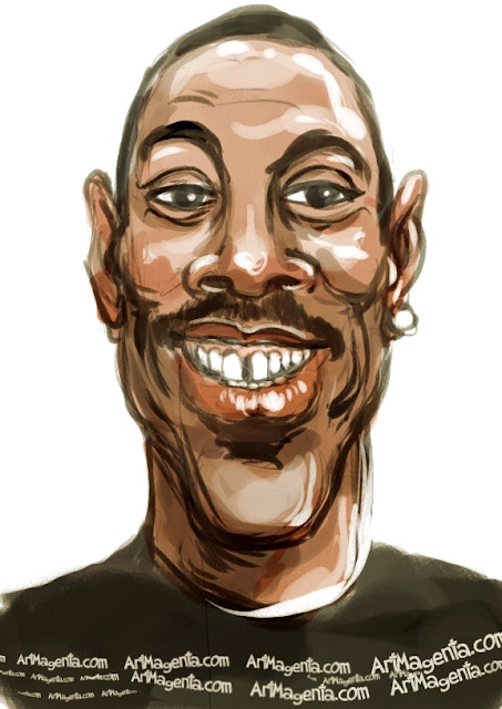 Eddie Murphy caricature cartoon. Portrait drawing by caricaturist Artmagenta