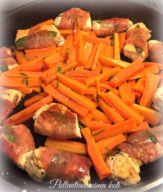 #chickenrecipe #chickenwithham #friedchicken #veggies #friedcarrots #rakuuna #kanaruoka #herkullinen