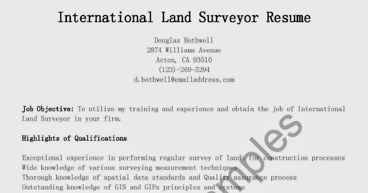 Professional Land Surveyor Resume Example | Good Cv Opening Profile