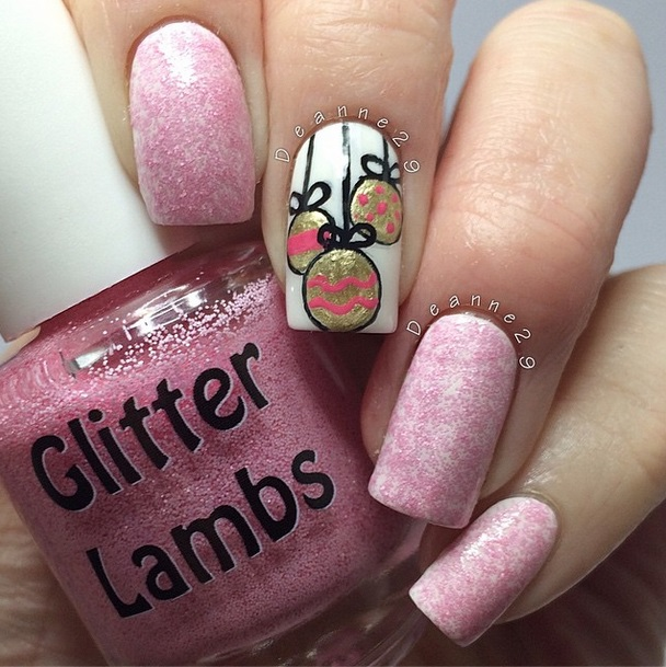 Christmas handmade custom indie nail lacquer by Glitter Lambs for the holiday season.Christmas glitter topper nail polishes for your nails. Christmas Nail art designs pictures with Christmas balls decorations on the nail.