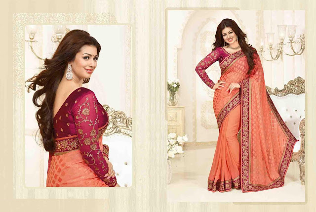 Peach Brasso Party Wear Saree With Raw Silk Blouse