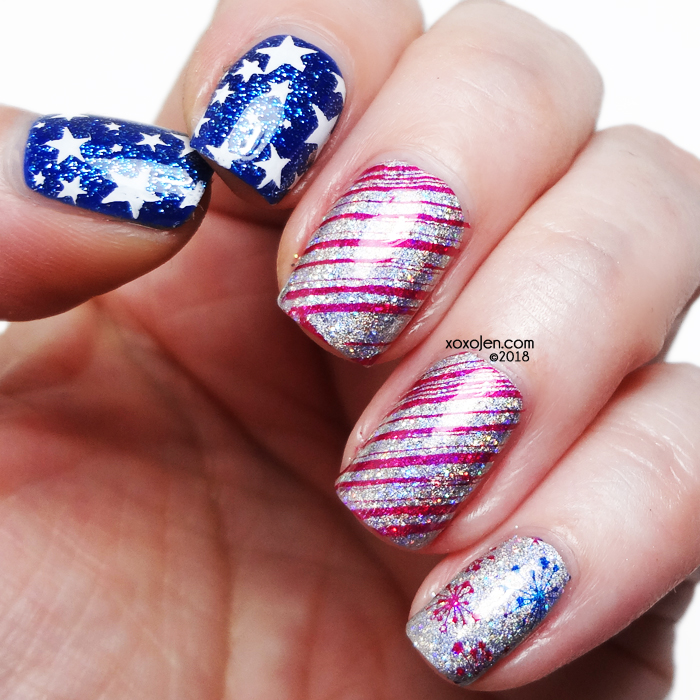 xoxoJen's swatch of Happy 4th of July 2018: Patriotic Nail Art