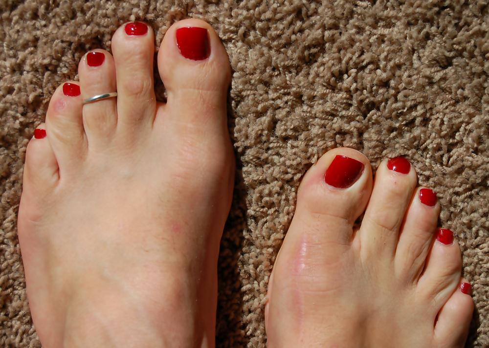 Red painted toes